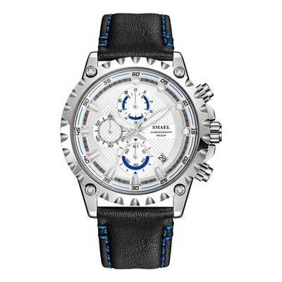 Smael 9105 Leather Watch - Silver Blue
