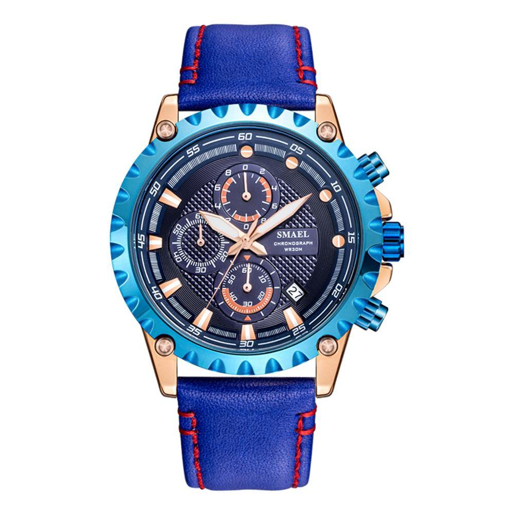 Smael 9105 Leather Watch - Blue - Smael South Africa