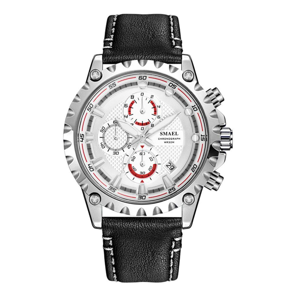 Smael 9105 Leather Watch - Black White