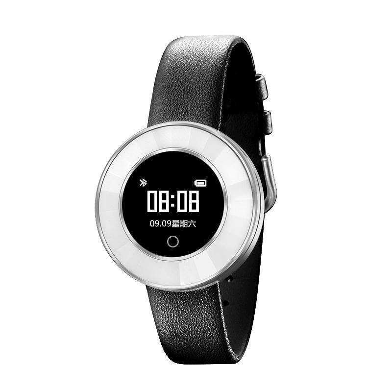 Microwear X6 Ladies Smartwatch - Black Leather With White