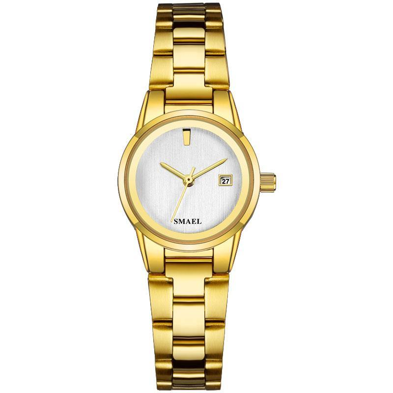 Smael SL9004L Ladies Classic Watch - Gold with Silver Face