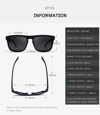 Kdeam KD156 Black/Silver Polarized Sunglasses-Smael South Africa-Smael South Africa