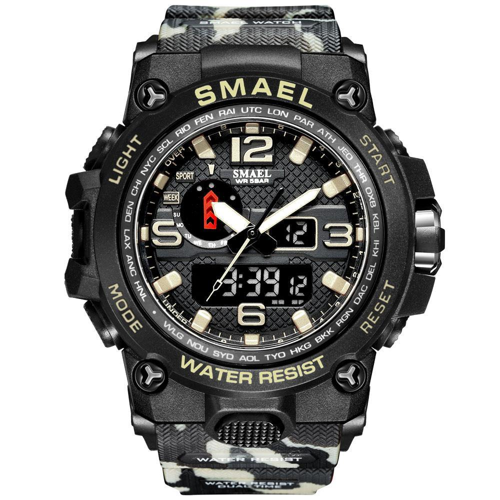 Smael 1545D Camouflage Khaki Multifunctional Watch