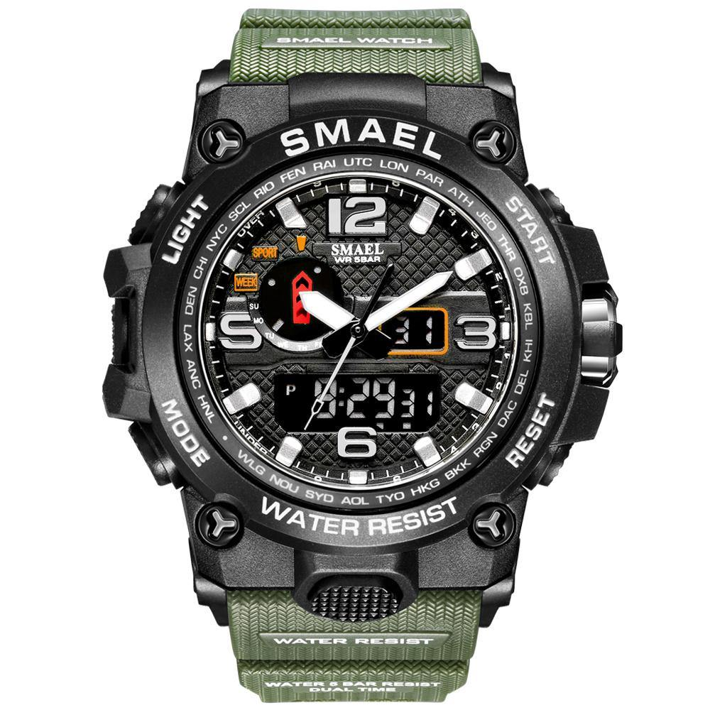 Smael 1545D Army Green Multifunctional Watch
