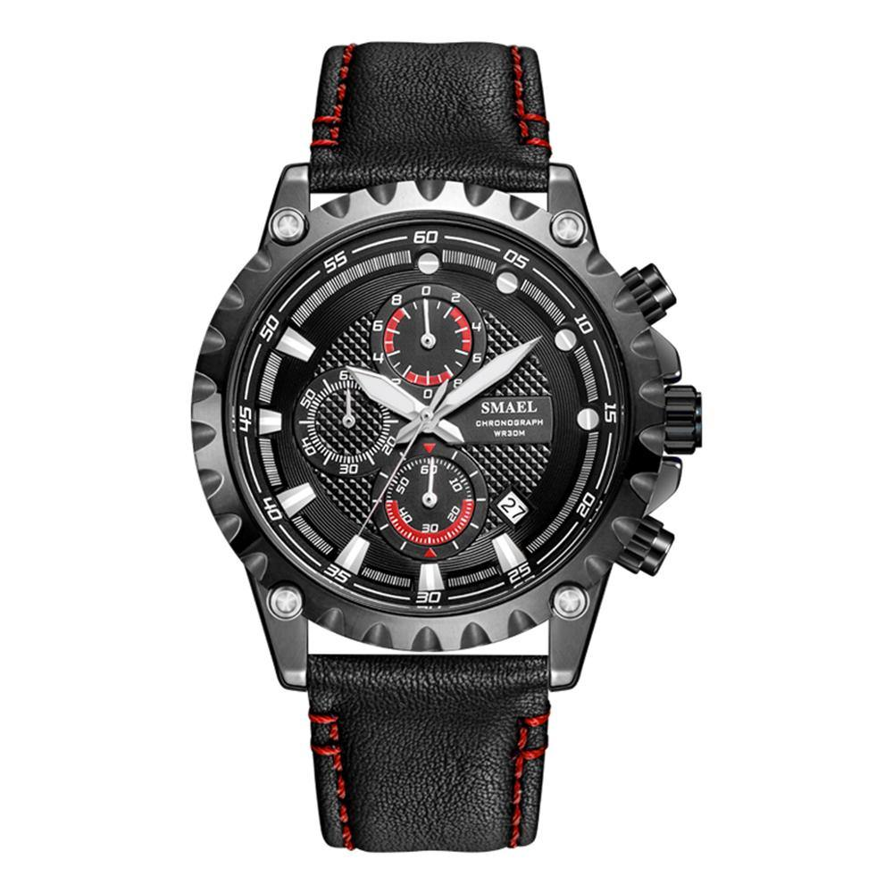 Smael 9105 Leather Watch - Black Red