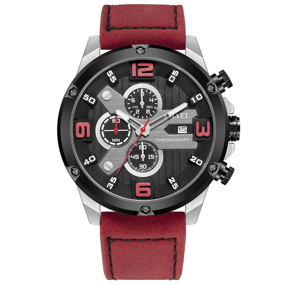 Smael 9082 Leather Watch - Red