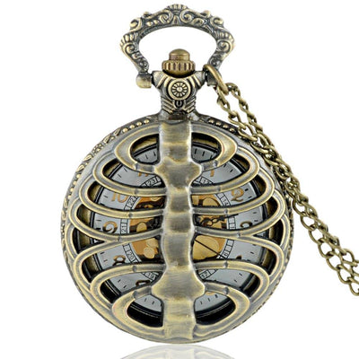 Skeleton Hollow Spine Nurses Pocket Watch - Rebels Depot