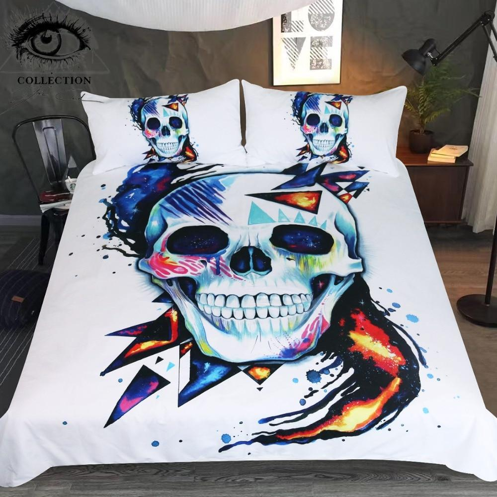 Abstract Skulls Bedding Set by Pixie Cold - Rebels Depot