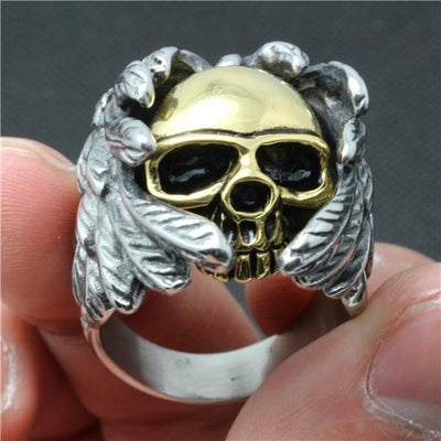 Angel of Death Stainless Steel Skull Ring - Rebels Depot