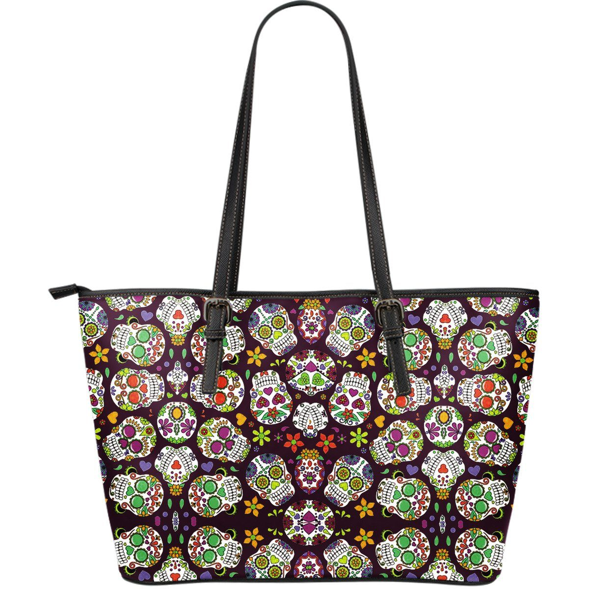 Sugar Skulls Large Leather Tote Bag - Rebels Depot