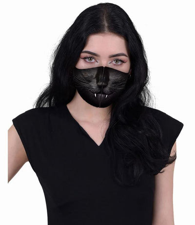 Black Cat Fangs Reusable Face Mask - Rebels Depot