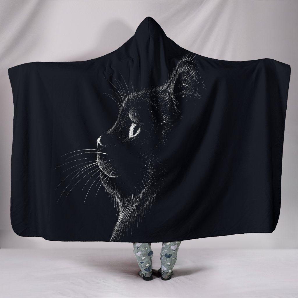 Black Cat Sherpa Hooded Blanket - Rebels Depot