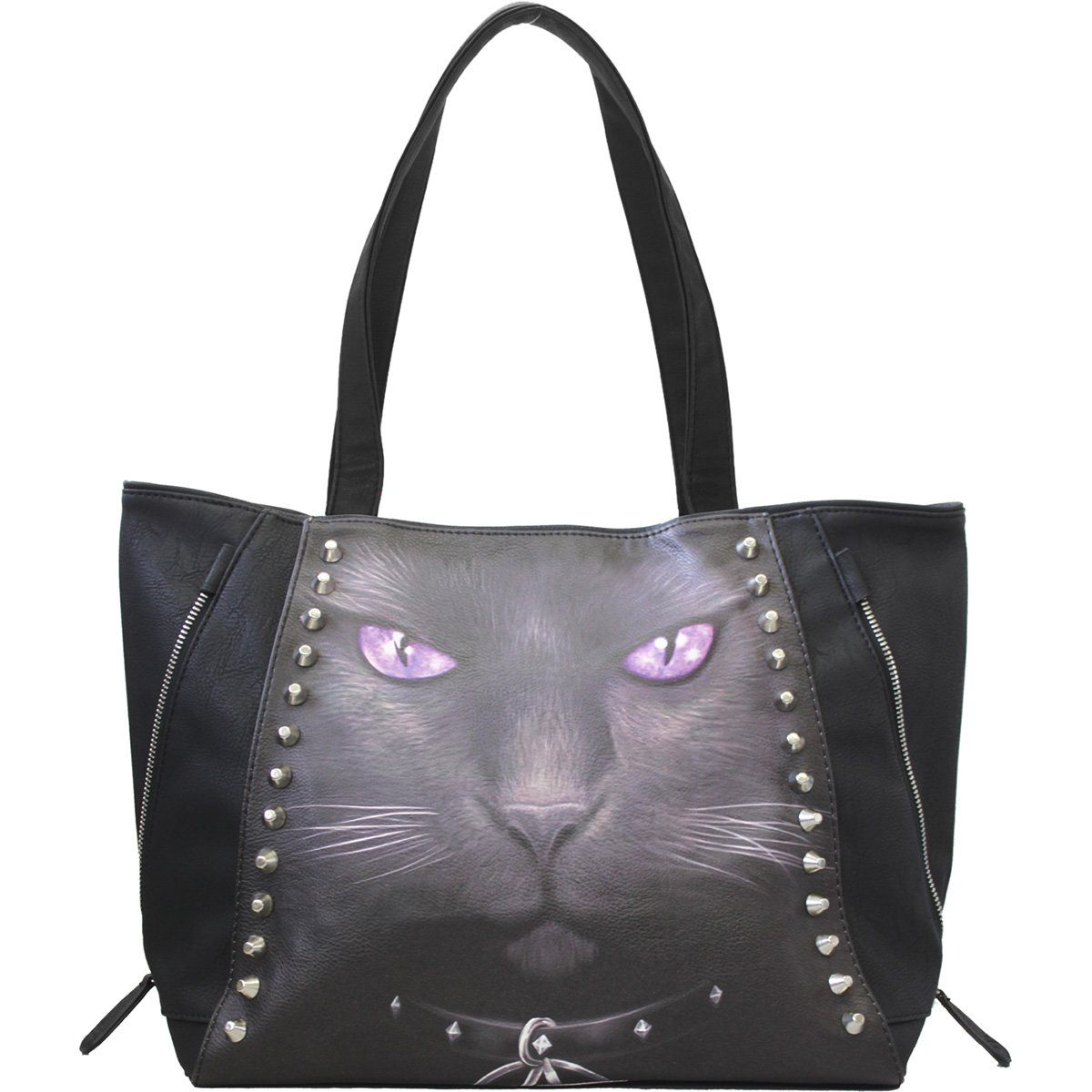 Black Cat Leather Tote Bag