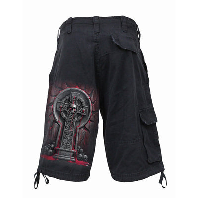 BLEEDING SOULS - Cursed Skull Foreshadows Black Cargo Shorts - Rebels Depot