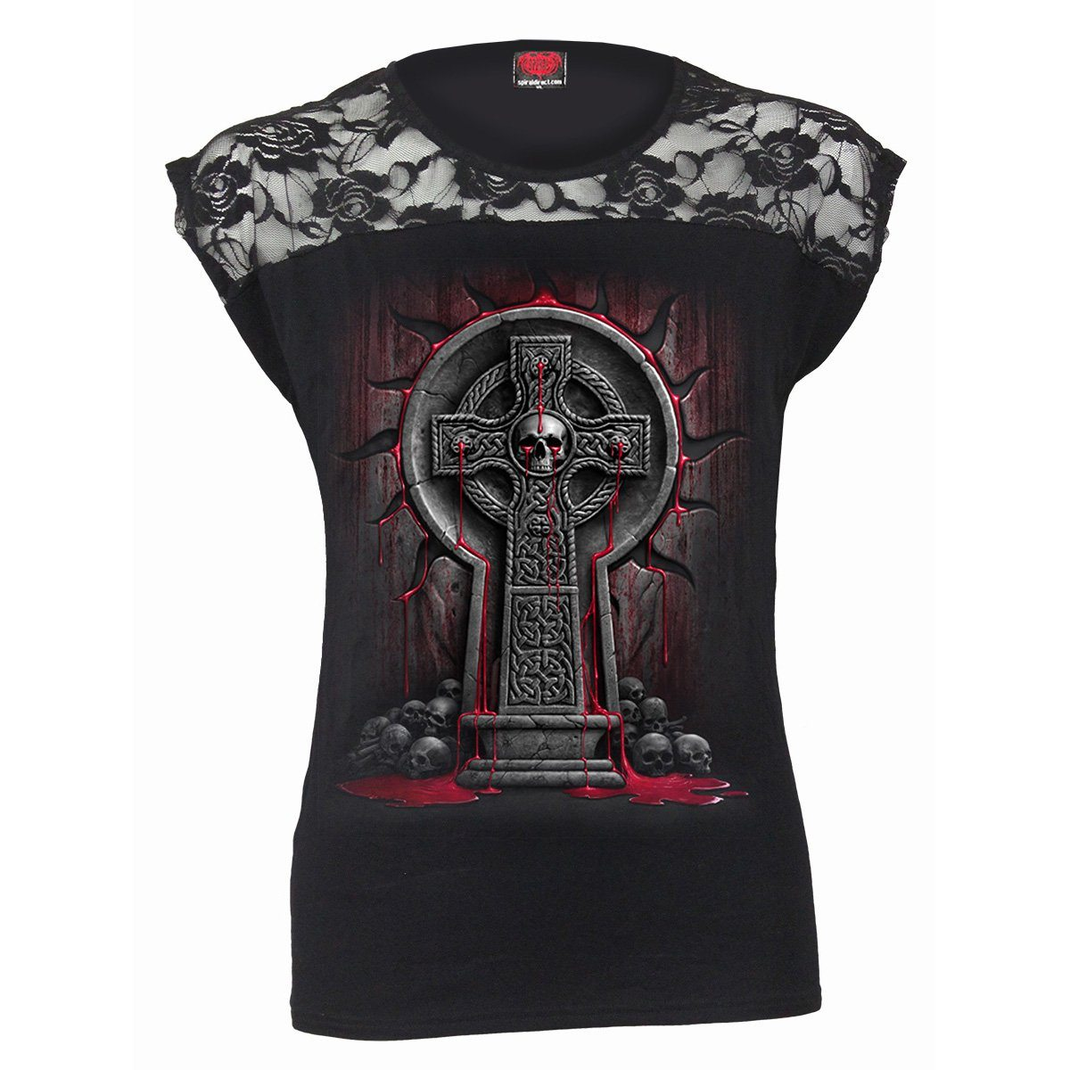 Cursed Tombstone Women's Lace Layered Black Top - Rebels Depot
