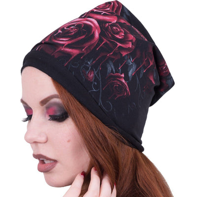 Gothic Blood Rose Women's Black Beanie - Rebels Depot