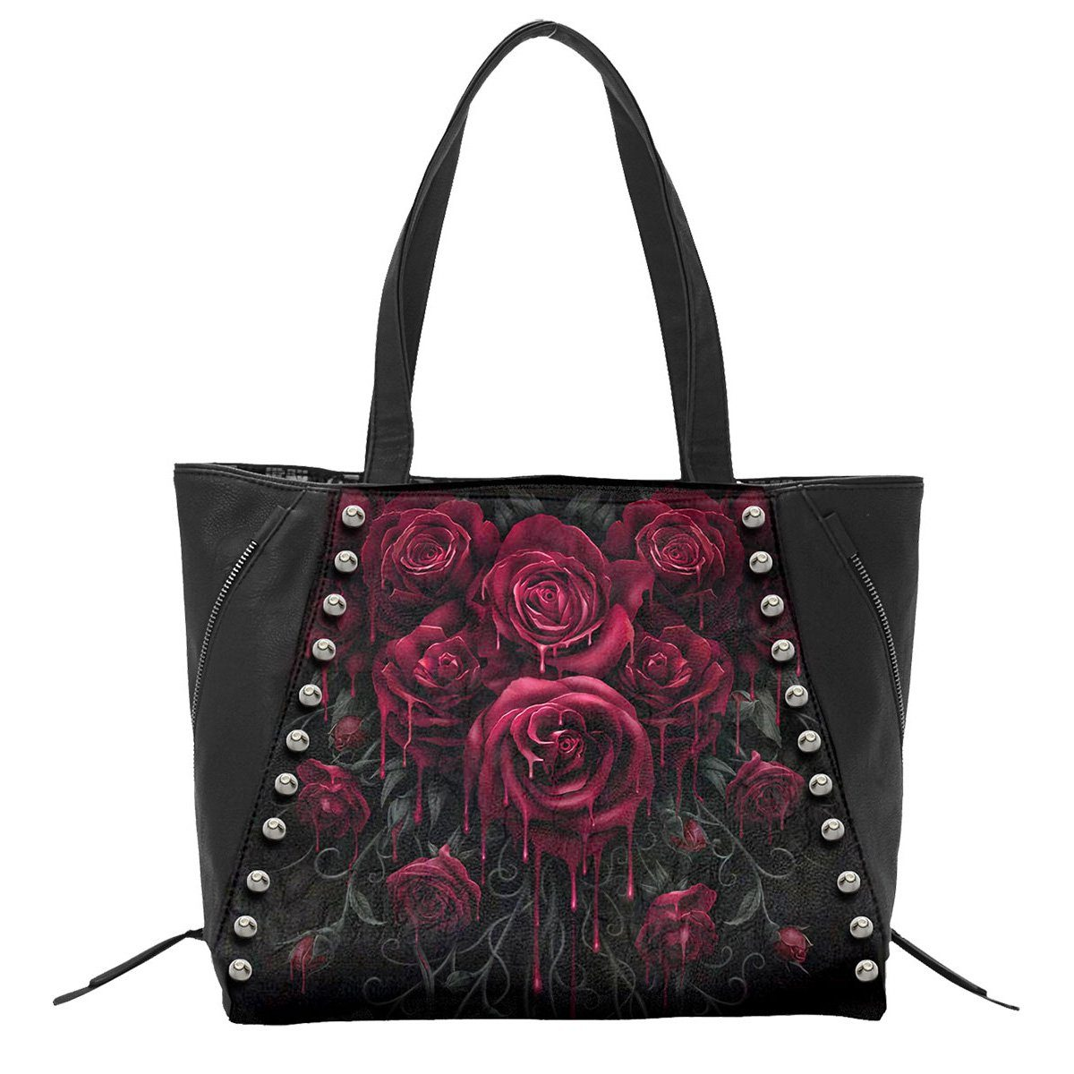 BLOOD ROSE - Tote Bag - Top quality PU Leather Studded - Rebels Depot