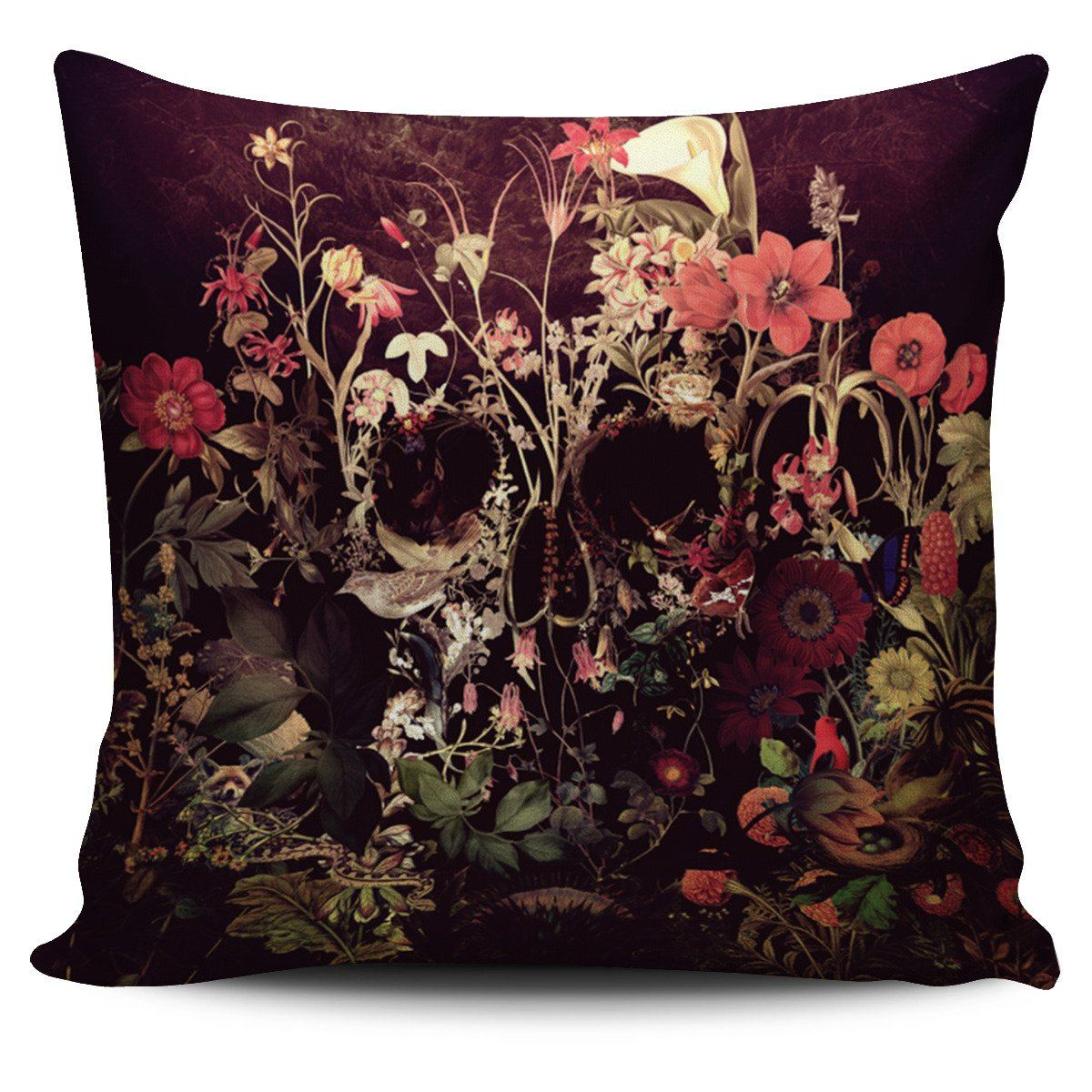 Blooming Skull Pillow Cover