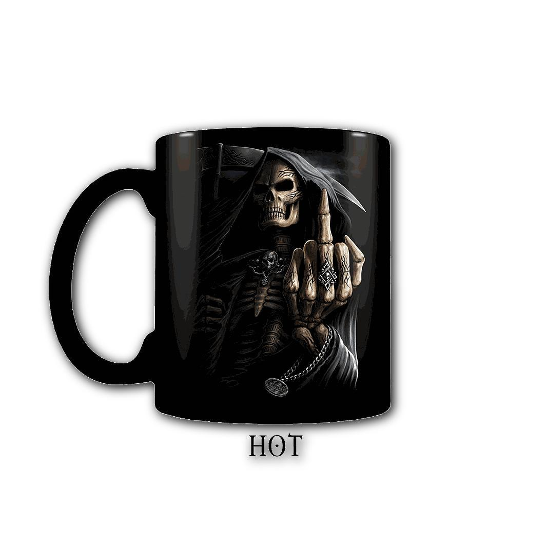 BONE FINGER - Heat Changing Grim Reaper Coffee Mug - Rebels Depot