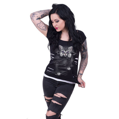 Kitten Eyes Women's 2in1 Black Short Sleeve - Rebels Depot