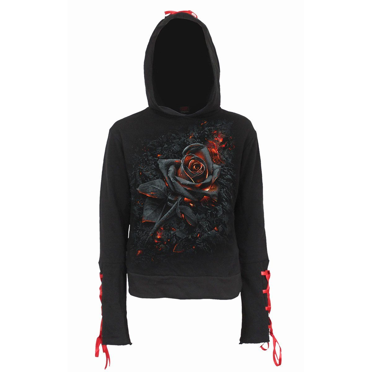 Gothic Burnt Rose Black Hoodie