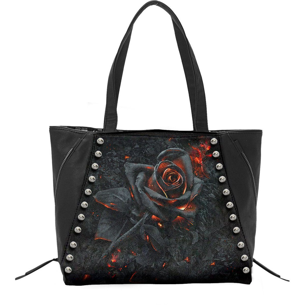 Burning Rose Leather Tote Bag - Rebels Depot