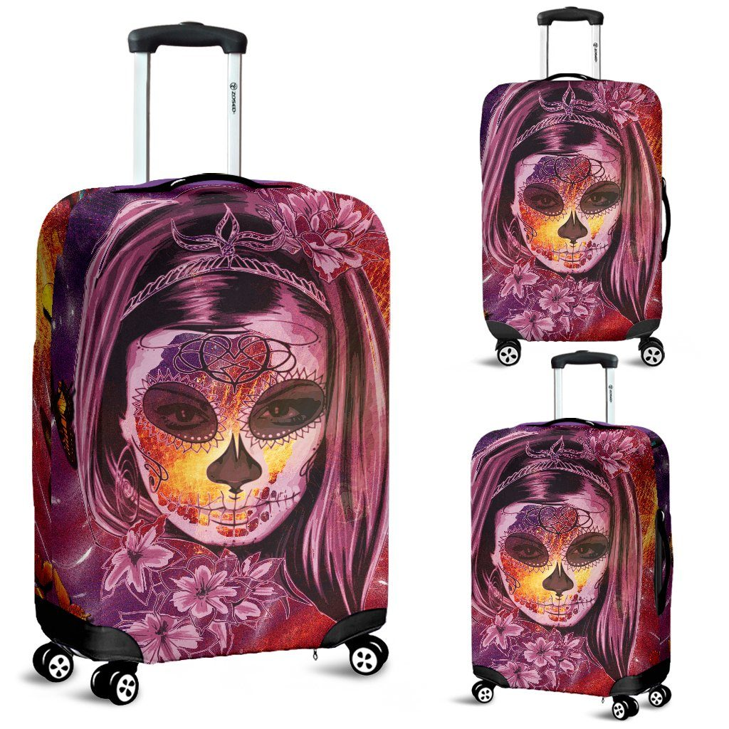 Day of The Dead Pink Luggage Cover