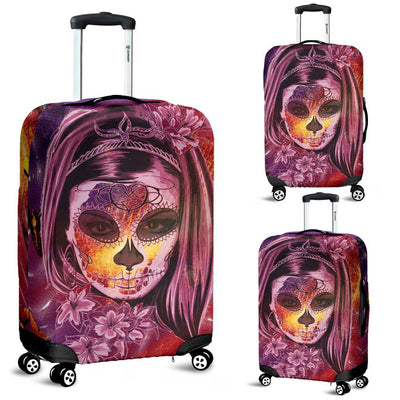 Day of The Dead Pink Luggage Cover - Rebels Depot