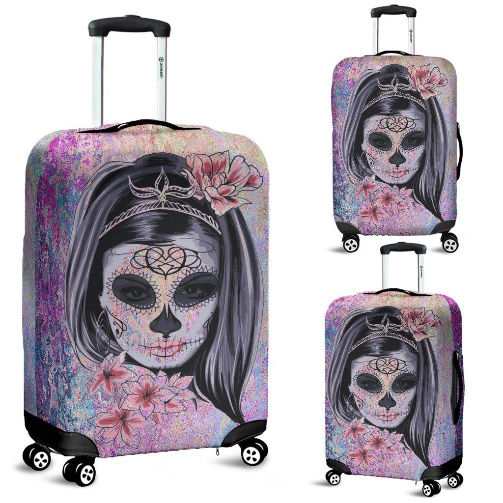 Day of The Dead Watercolor Luggage Cover - Rebels Depot