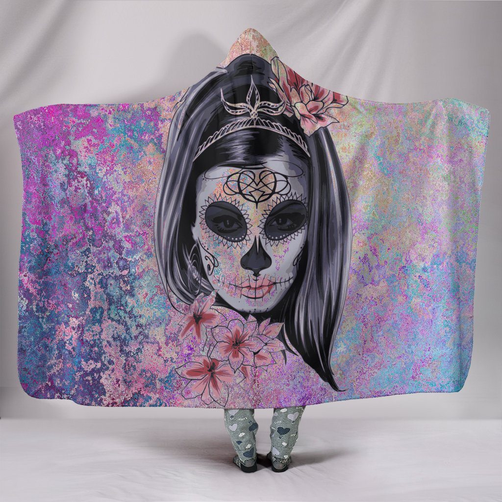 Sugar Skull Calavera Sherpa Hooded Blanket