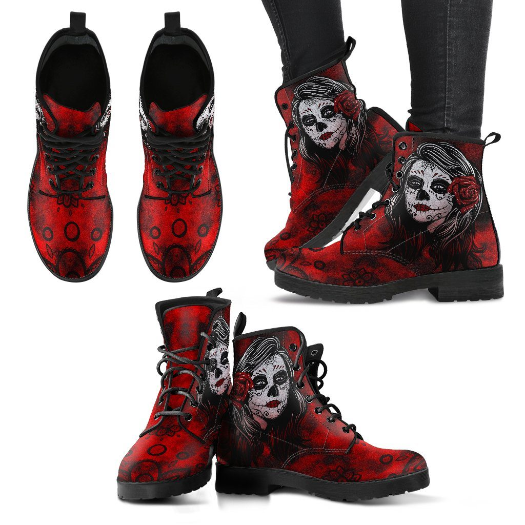 Sugar Skull Calavera Girl Design - Women's Leather Boots - Rebels Depot