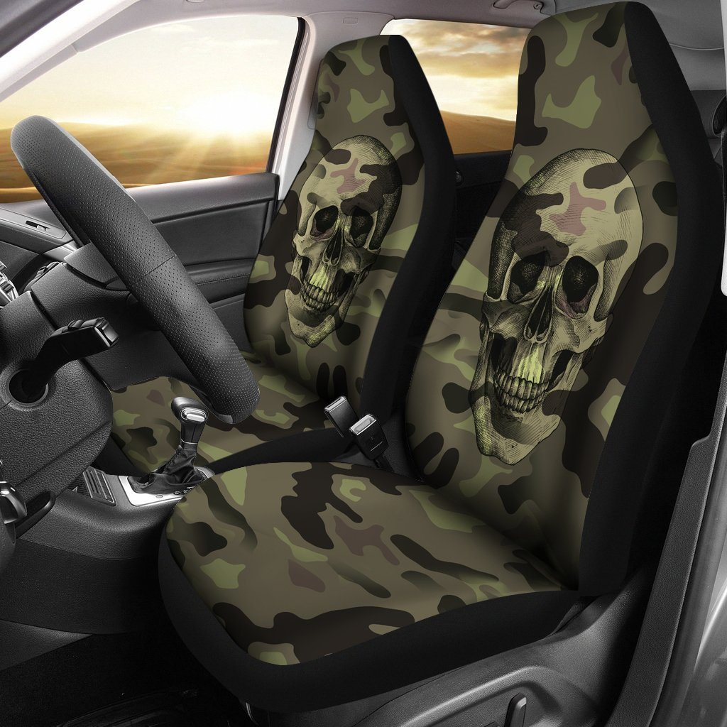 Green Camouflage Skull Car Seat Covers
