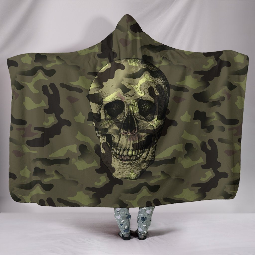 Green Camo Skull Sherpa Hooded Blanket