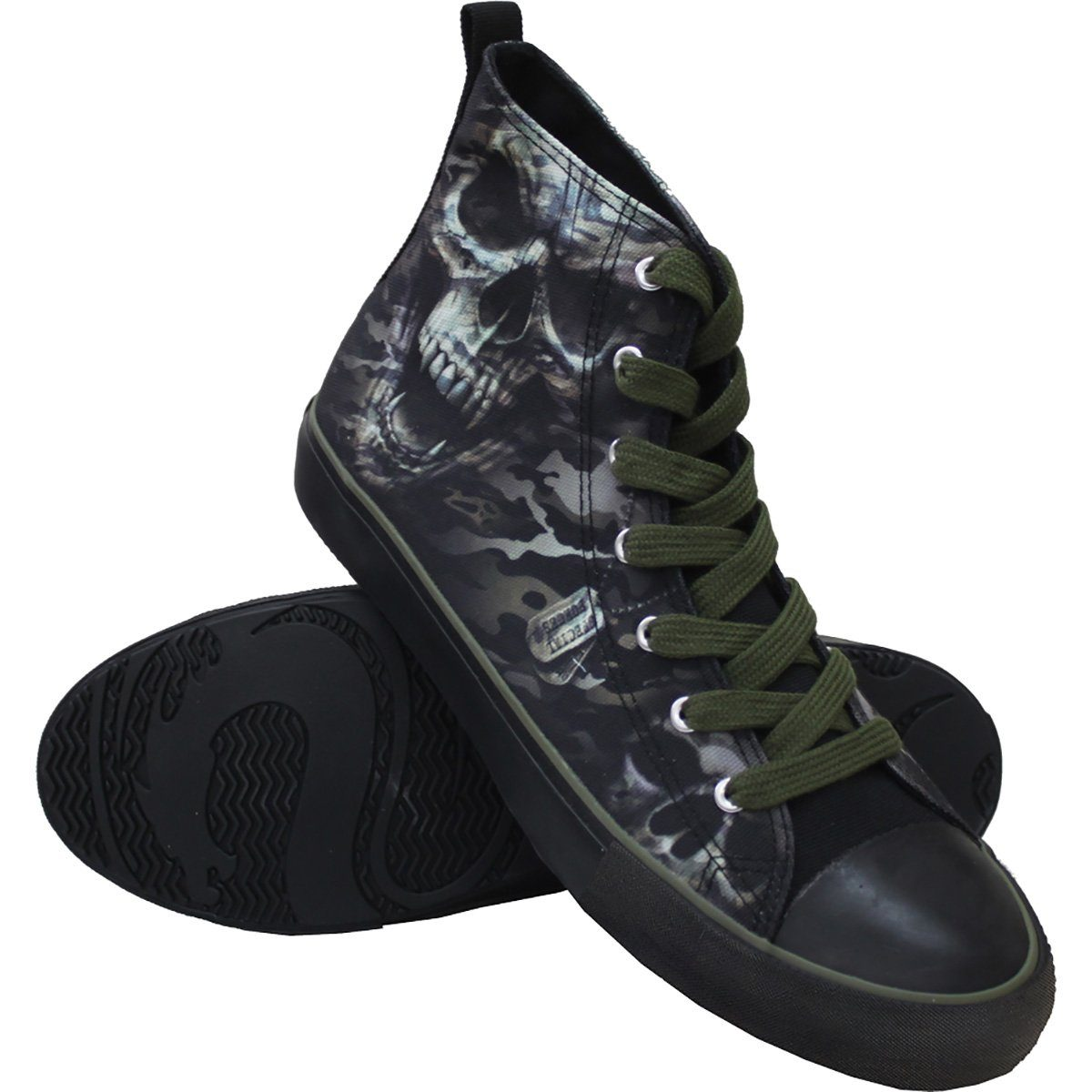 Camo Skull Men's High-Top Sneakers