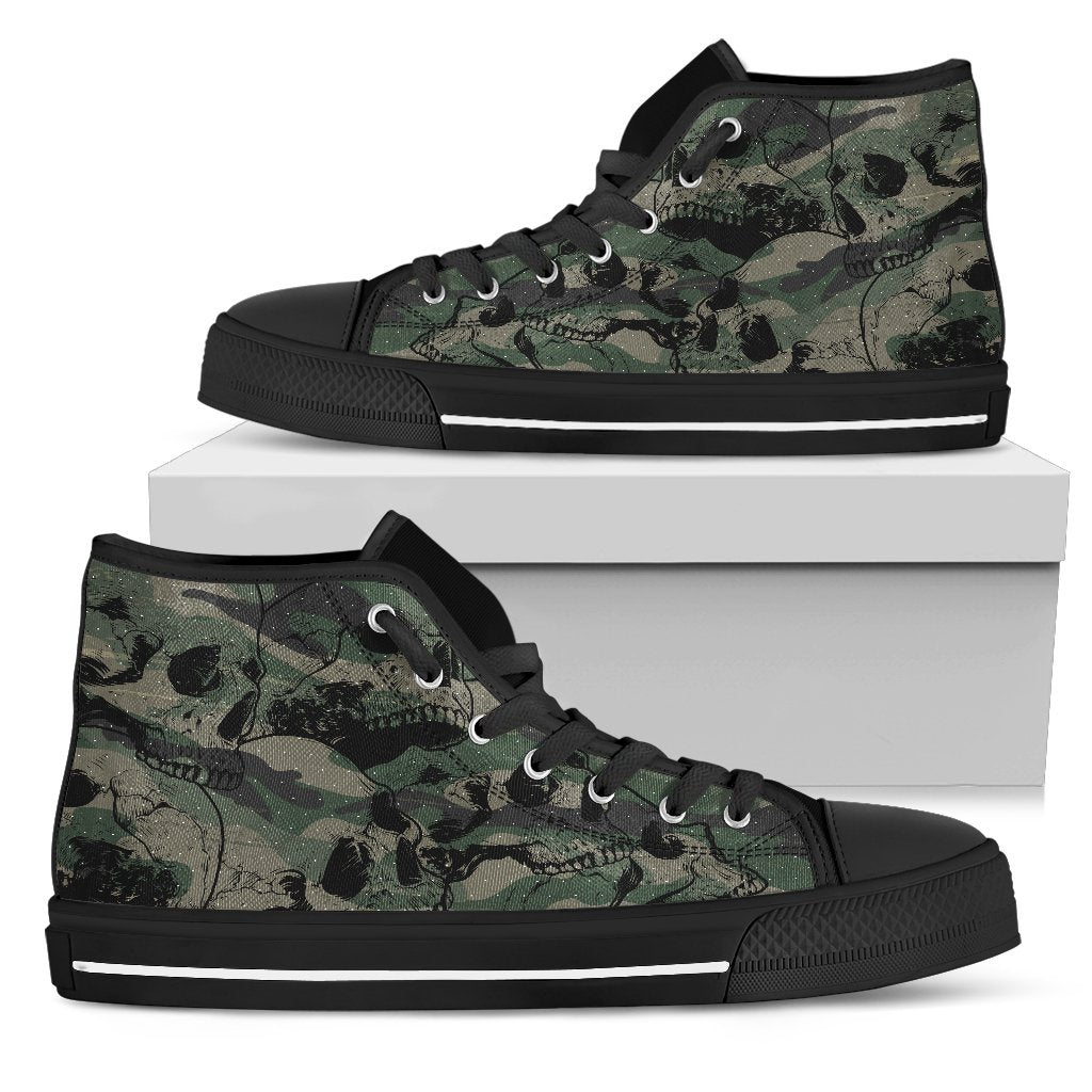 Camo Skulls Women's High-Top Canvas Shoes - Rebels Depot