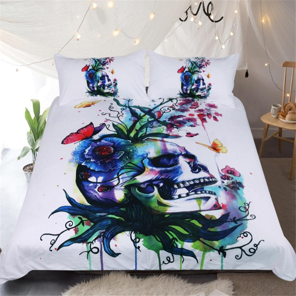 Candid Skull Abstract Bedding Set by Pixie Cold