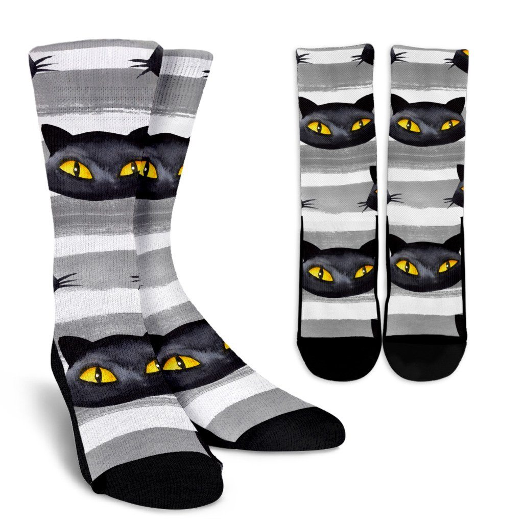 Black Cat Eyes Crew Socks