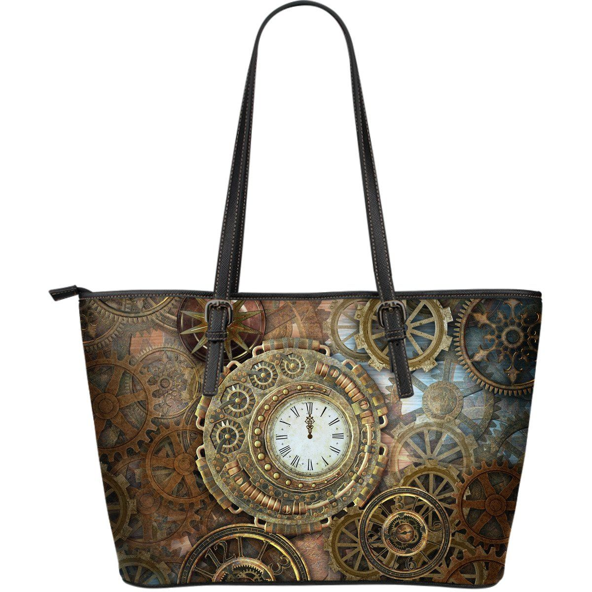 Steampunk Clocks Large Leather Tote Bag - Rebels Depot
