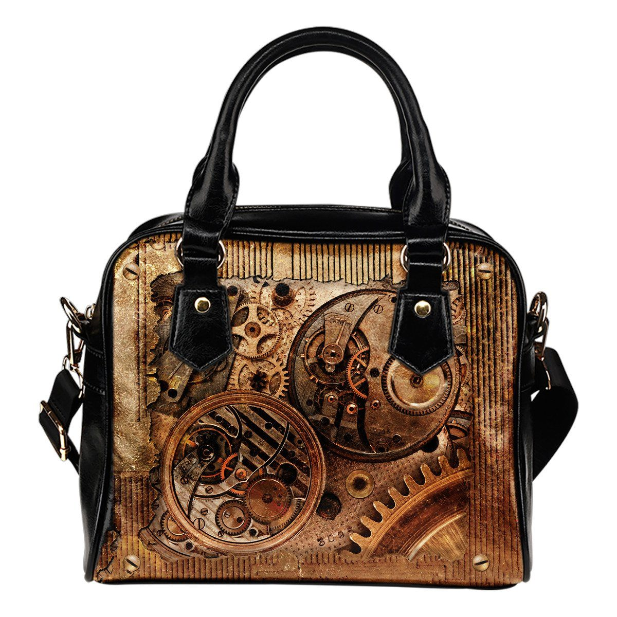 Steampunk Gears Leather Handbag