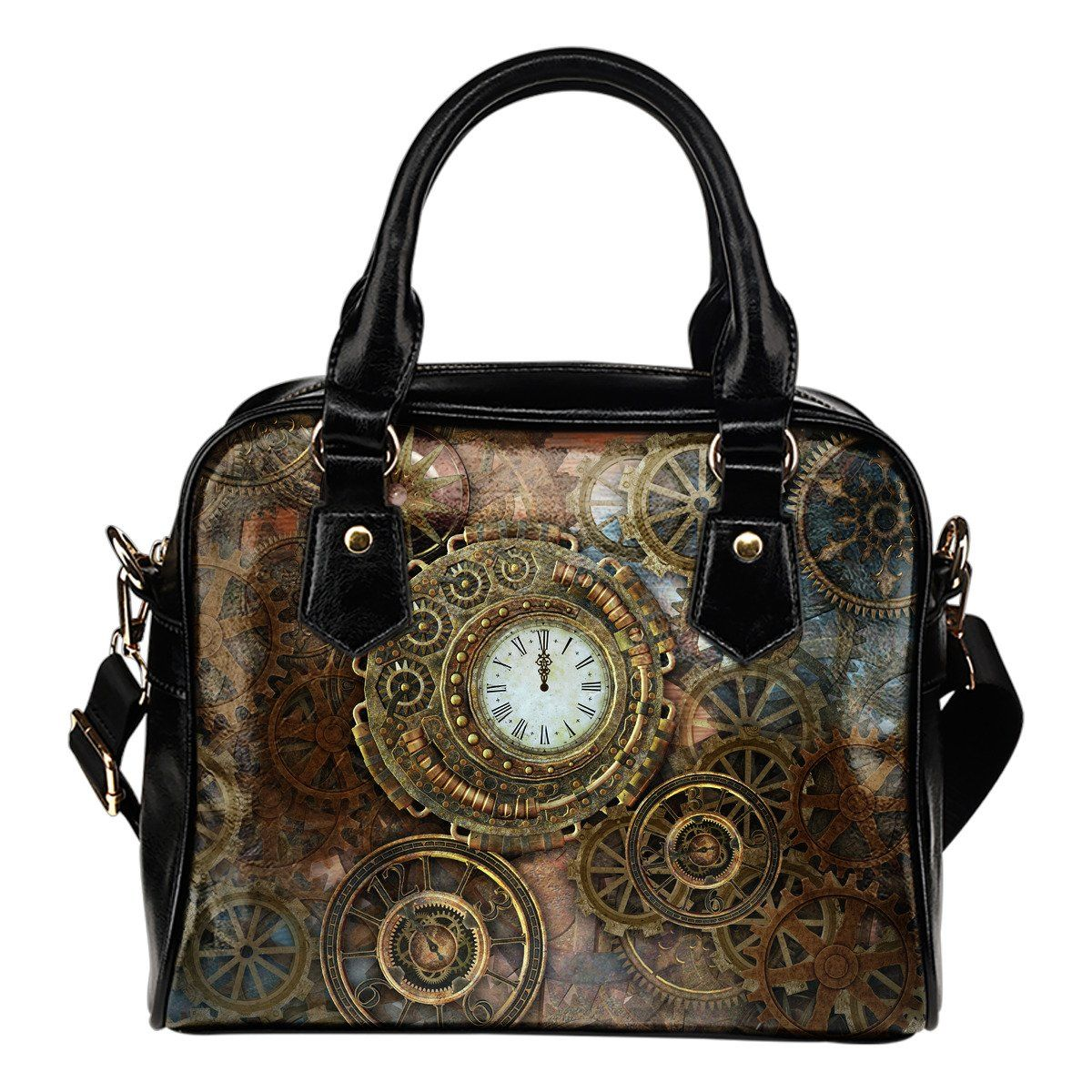 Steampunk Clocks & Gears Leather Handbag