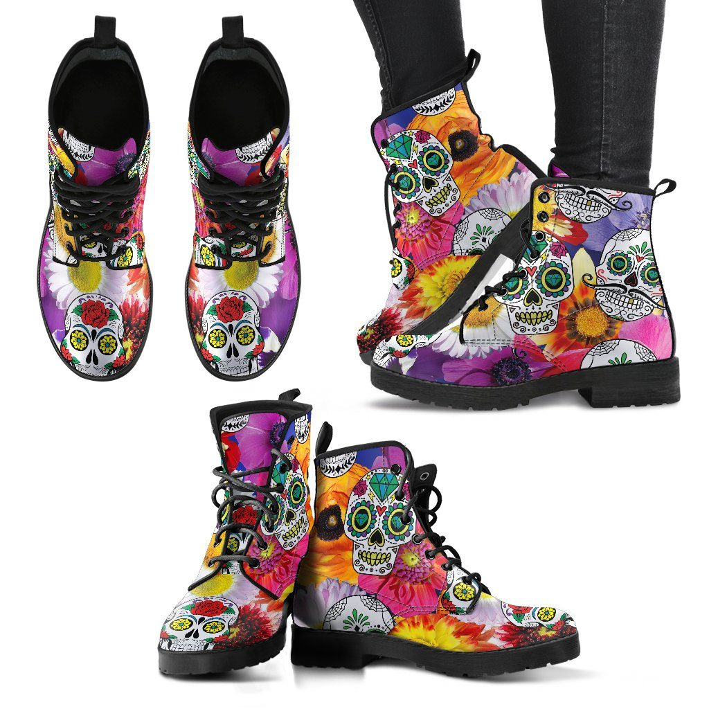Colorful Sugar Skull Design - Women's Leather Boots - Rebels Depot