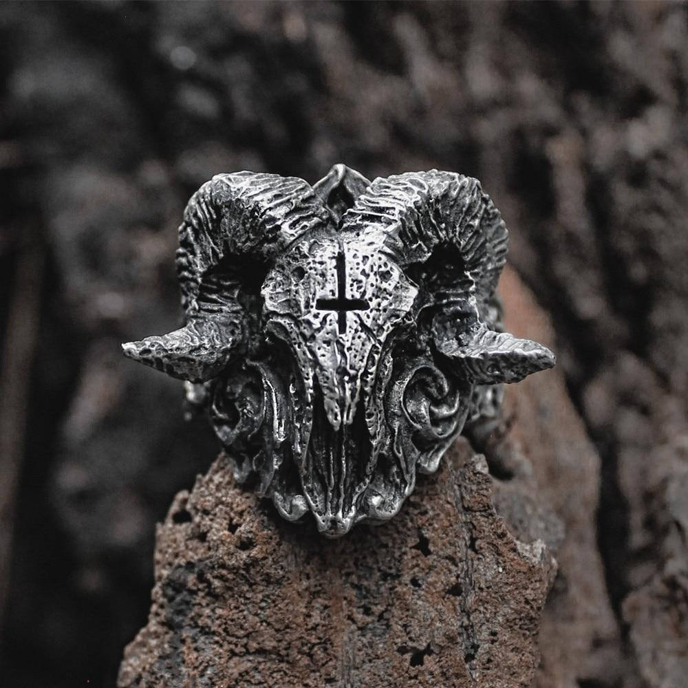 Inverted Cross Ram Stainless Steel Skull Ring