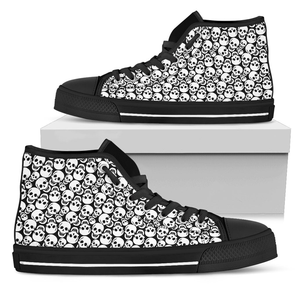 Skully Women's High-Top Canvas Shoes - Rebels Depot