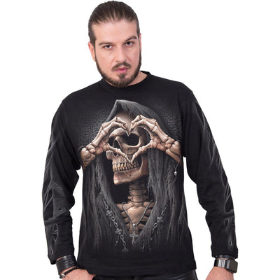 Grim Reaper Love Men's Black Longsleeve Shirt - Rebels Depot