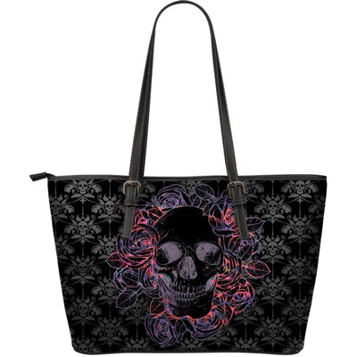 Dark Skulls Large Leather Tote Bag - Rebels Depot