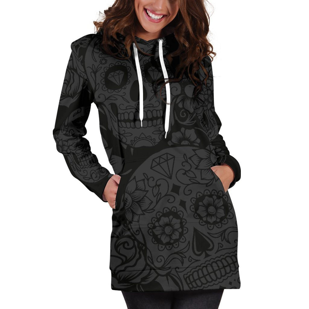 Dark Sugar Skull Hoodie Dress