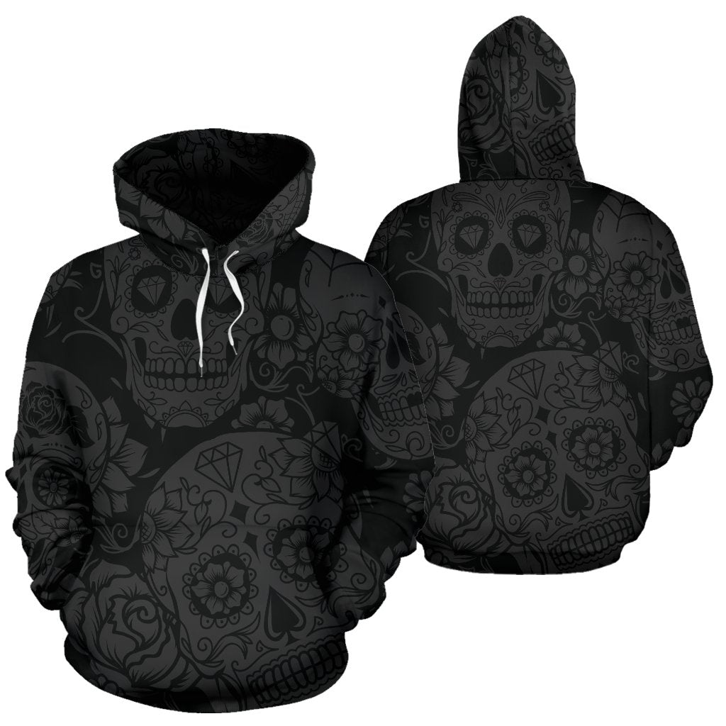 Dark Sugar Skull All Over Hoodie