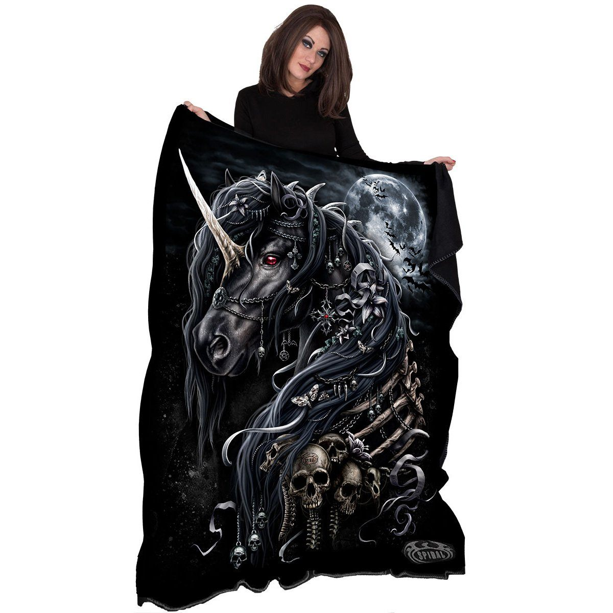 Elusive Dark Unicorn Fleece Blanket