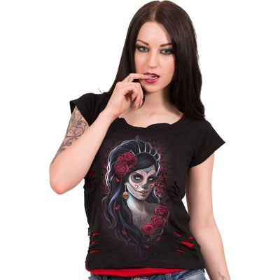 DAY OF THE DEAD - 2in1 Red Ripped Top Black - Rebels Depot