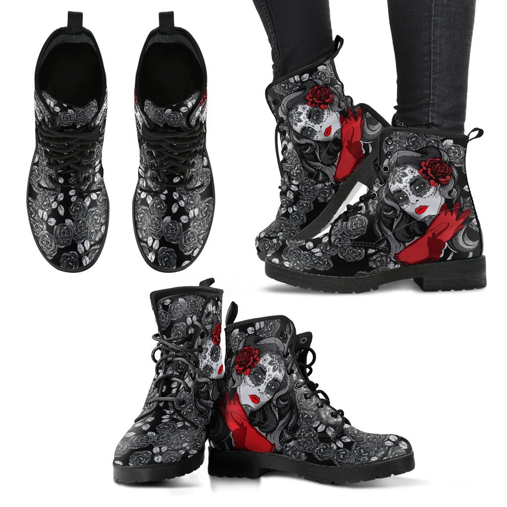 Day Of The Dead & Rose Design - Women's Leather Boots - Rebels Depot